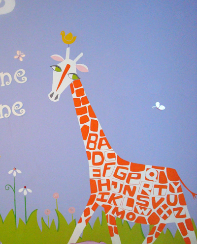 ABC giraffe painted by Heather L Young