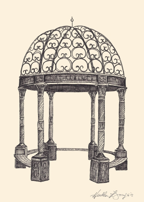 The Narnia Estate Wedding Venue Gazebo Lemont Illinois Pen and Ink Drawing