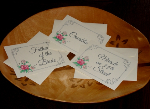 Wedding Escort Cards Peony Rose