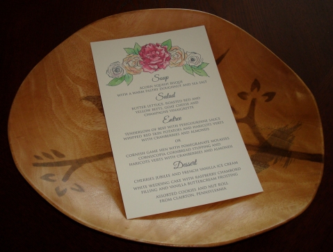 Wedding Menu Peony Rose