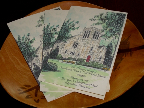Sell Chapel Pen and Ink Drawing Watercolor Painting Wedding Program Covers