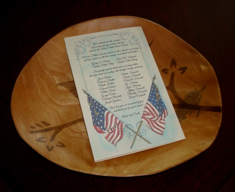 Wedding Programs Veterans Thank You